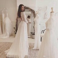 Wholesale Lace and Chiffon Beach Wedding Dress Long Sleeve Rustic Wedding Dress Vestidos de Noivas para Casamento Backless Chiffon Bridal Dresses