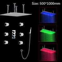 big message light - Big Rainfall Bathroom Shower Faucet Set hydro power LED Light Rainfall Shower Head with message body jets