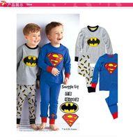 Wholesale 2016 Boys kids cartoon cotton pajamas superman batman long sleeves home wear suit pajama pyjamas MC0096