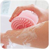 Wholesale New Bath brushes soft silicone bath brush skin massage health care shower bathroom product shampoo brush gentle cleaning brush