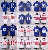 beckham jersey number - Elite Eli Manning Victor Cruz Odell Beckham Jr Royal Blue Name Number Logo Stitched Mens Jerseys