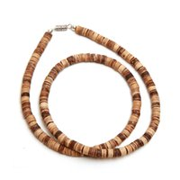 beaded necklaces men - New Two Style Mens Natural Brown Coco Beaded Necklaces Casual Sporty Man Beach Surfer Chokers Necklace For Men Cool Jewelry