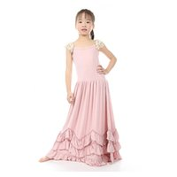 Wholesale Solid Maxi Dresses Wholesale - Christmas Sweet Kids Girls Ruffles Maxi Dress Lace Sleeve Pink Color Candy Fashion Dress Princess Party Dress