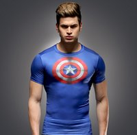 Wholesale Men Marvel captain a merica compression T shirt quick dry breathable running tight t shirt