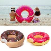 venda por atacado inflatable pool toys-Flutuador 2016 Água Verão Toy 48 polegadas Gigantic Donut Piscina inflável natação Anel Adult Pool flutua 2 cores