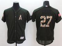 achat en gros de anges anaheim jersey noir-MLB Los Angeles Angels of Anaheim # 27 TRUITE noir police rouge vert armée colors gris Baseball Jerseys N ° 44 nouveaux hommes JACKSON toutes tailles MIX COMMANDER