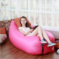Wholesale 2016 New Hangout Fast Inflatable Lounger Air Sleep Camping Sofa Beach Nylon Fabric Sleeping Bag Bed Lazy Chair ourdoor