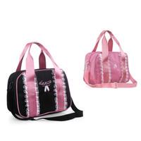 Wholesale Newest Fashion Cute Pink Black Nylon Canvas Children Kids Dance Bags Embroidery Ballet Shoes Lace Handbags