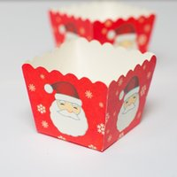 Wholesale red Santa Claus Christmas decoration square muffin cake cups party bulk small cupcake cases supply kids favors