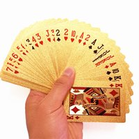 Wholesale Durable Waterproof Plastic Playing Cards Gold Foil Golden Poker Cards K Gold Foil Plated Playing Cards Poker Table Games