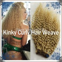 Wholesale Grade A unprocessed virgin hair Double weft Brazilian kinky curly hair g pc Beautifuls blonde virgin human hair weave Extension