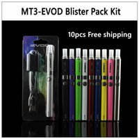 Wholesale 10pcs EVOD MT3 Blister pack kit eGo starter kits single kits e cigs cigarettes mah mah mah battery MT3 atomizer