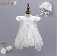 Wholesale 3Pcs set Baby Girl Christening Gowns Newborn Infant Girl Dresses Infant Princess Girls Party Lace Dress for years Birthday