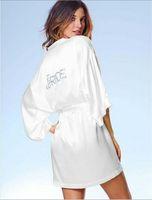 Wholesale White Silk Bridal pajamas NIghtwear Half Sleeves Short Mini Women Wear With Sequins Wedding Bride pajamas