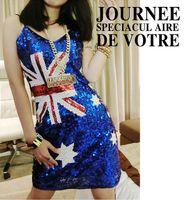 uk flag - 2016 New style UK national flag dresses club sequins sexy skirt Deep V knee length straight dresses street style dresses NVQ99