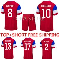 Wholesale DISKERUDS YEDLINS MORGANS Soccer Jersey Kits DEMPSEYS ALTIDORES Red Away football sets uniforms With shorts