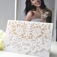 Wholesale Laser Cut Wedding Invitations Cards White Gold Red Pink Birthday Party Invitations Cards for Engagement C03