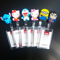 abs reel - Cartoon Silicone New ABS Retractable Reel Bank Credit Card Holders Acrylic Card Bus ID holders candy colors Identity badge