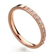 Wholesale Factory Direct New Arrival Romantic Style Stainless Steel Rings With AAA CZ Stone Rose Gold Plated Wedding Ring For Women