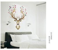 Wholesale Vintage Art Sika Deer Wall Stickers For Kids Rooms living room bedroom Wall Decals Home Decor DIY PVC Home Decoration