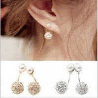 Wholesale Star model with pearl diamond drill after double steel ball stud earrings earrings