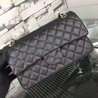 american quilting - Classic Flap Bag Original Caviar Leather Women Medium Quilting Chain Bags A1112 shoulder bags size w25 h14 d7 cm