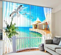 Wholesale Window Curtain D Curtains for living room bedroom Blackout drapes Relaxing Palm Tree Sea rideaux pour le salon Tailored made