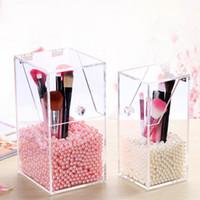 Wholesale Acrylic makeup brush with beauty brush cylinder barrel storage barrels brush sets cosmetic brushes transparent storage box