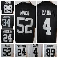 Wholesale Raiders Cheap Carr Mack Cooper Woodson Jackson Stitched Game Jersey Football American Men White Black Wear Jerseys