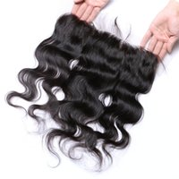 Wholesale quality A lace frontal closure x4 Brazilian hair closure natural black full body wave lace frontal closure Brazilian hair closure frontal