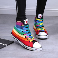 lady leisure shoes - Freeshipping Lady Fashion Casual Shoes Sports Sneaker Canvas shoes Rainbow Designed Leisure Shoes EU