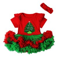baby gown patterns - Red Baby Cute Christmas Tree Tutu Tulle Short Dresses Headband Sets Cheap Baby Little Girl Christmas Theme Dresses