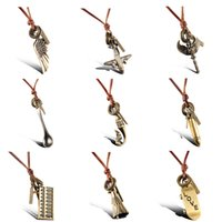 Wholesale New products listed Leather cord bronze pendants necklaces unisex jewelry