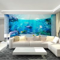 ar material - Three dimensional underwater world mural wallpaper decorative art indoor perspective large dolphin art wall children bedroom sticker wall ar
