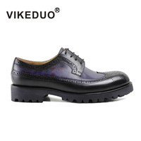 bespoke leather - VIKEDUO Mens Derby Shoes DB Genuine leather shoes Hand patina shoes exclusive design bespoke shoes hand made Second To Berluti