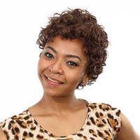 Wholesale Hot super short dark brown mixed color curly synthetic hair wigs for africa american black women