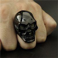 Wholesale Size Punk Huge Polishing Skull Ring L Stainless Steel Cool Fashion Men Black Biker Skull Ring