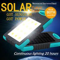 Wholesale hot2016 sale mAh Solar Power LED camping lantern Bank Solar Battery Charger Powerbank Waterproof Hard Large capacity DUAL USB external
