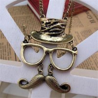 beard websites - X094 Topshop official website with hollow retro cute style glasses beard Necklace