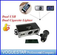 Wholesale Car truck SUPER power Socket Splitter Dual USB Dual Cigarette Lighter ports advanced Extension r V V W ATP0051