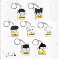 Wholesale 20pcs bts member cartoon acrylic keychain keyring