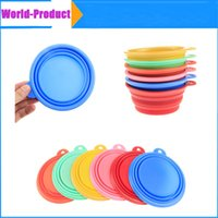 Wholesale Fashion Pet Dog Food Bowls Silicone Collapsible Feeding Feed Water Feeders Foldable Travel with colors