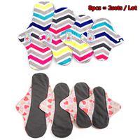 Wholesale 8Pcs Bamboo Charcoal Cloth Menstrual Pad Sanitary Napkin Size S M L XL Mama Soft Pad Breathable Reusable Washable