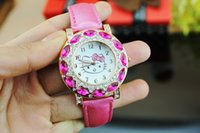 advantage leather - Foreign trade new fashion gemstone watches HELLO KITTY cat girl watches factory price advane
