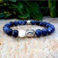 beaded mothers bracelets - Buddha Bracelet Men s Bohemian Mala Yoga Natural Stone Lucky Beads Sodalite Mother of Pearl Gemstone Bohemian Bracelet
