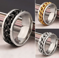 Wholesale mix Men s Silver Golden Black tone Stainless Steel chain spinner fashion Jewelry Rings high grade