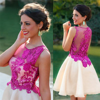 Wholesale Fuchsia D Floral Appliques Homecoming Dresses Jewel Sleeveless Short Length Organza Graduation Dress Cocktail Prom Party Gowns