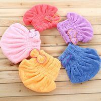 Wholesale Magic Hair Fast Dry Towel Cap Bath Wrap Twist Hat Bowknot Soild Quick Dry Cap Head For Women Ladies Bath Tools