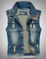 Wholesale HOT Fashion Men S Vest Cultivate one s morality cowboy ests Tank top hole leisure Sleeveless Plus Size vest