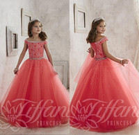 Wholesale Little Girls Pageant Dresses For Teens New Off Shoulder Crystal Beads Coral Tulle Formal Party Dresses Kids Flowers Girls Gowns